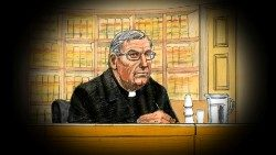 Cardinal George Pell depicted in a courtroom sketch on Wednesday