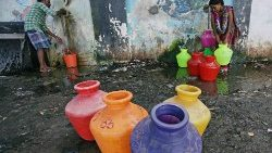 Water shortage in southern India's Chennai city.
