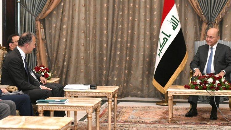 Iraq's President Barham Salih meets with a delegation from the U.N. Security Council in Baghdad