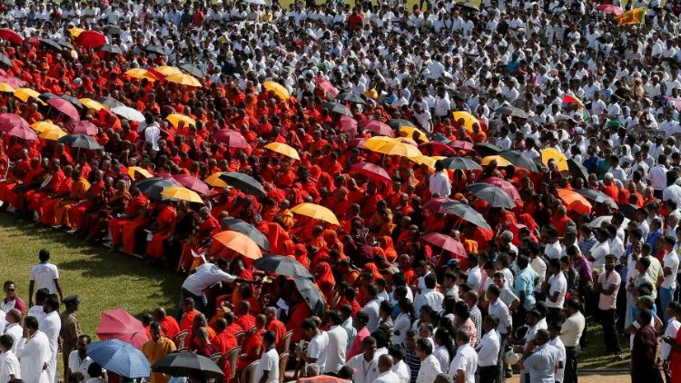 Buddhist monks and supporters at the Buddhist monks convention in Kandy.