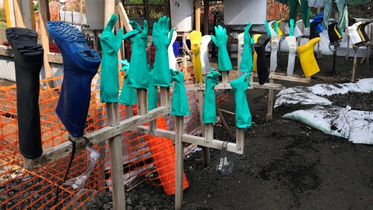 Anti ebola protective gear is hanged to dry at a Health Centre in Goma
