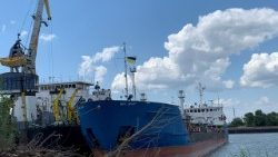 A view shows the Russian tanker Nika Spirit detained by Ukraine's security services in Izmail