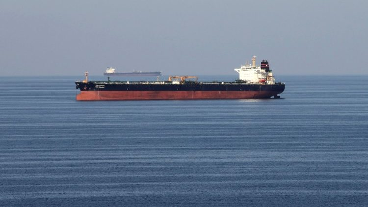 An oil tanker at sea