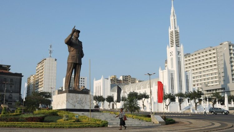 A statue of Samora Machel, the first President of Mozambique is seen next to the Cathedral of the Immaculate Conception