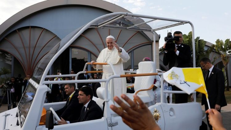 Pope Francis greets the people of Madagascar upon his arrival in Antananarivo