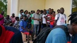 Evacuees from Abaco at a shelter in Nassau.