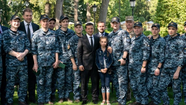 Ukraine's President Zelenskiy attends a meeting with liberated sailors in Kiev