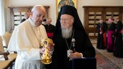 Pope Francis meets with Ecumenical Orthodox Patriarch Bartholomew I of Constantinople at the Vatican