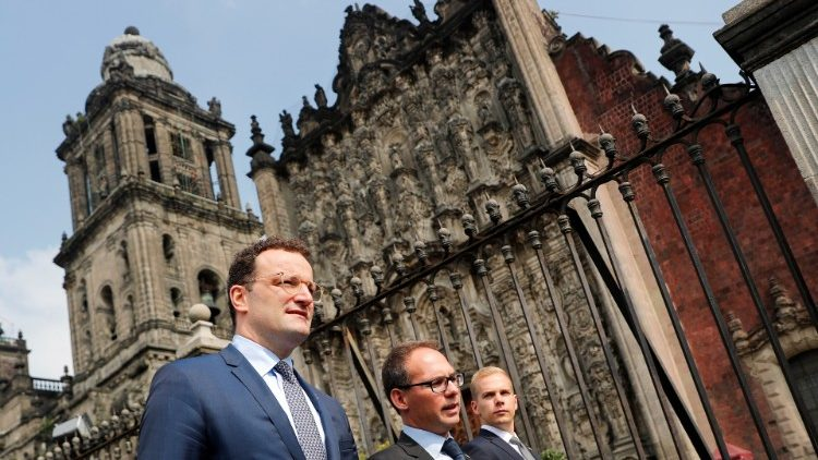 German Health Minister Jens Spahn walks outside the Cathedral Metropolitana in Mexico City