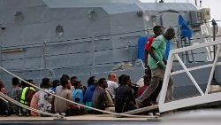 Rescued migrants aboard a vessel