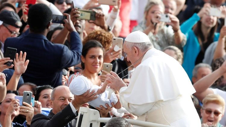Pope Francis  at his weekly general audience in the Vatican on 25 September, 2019.