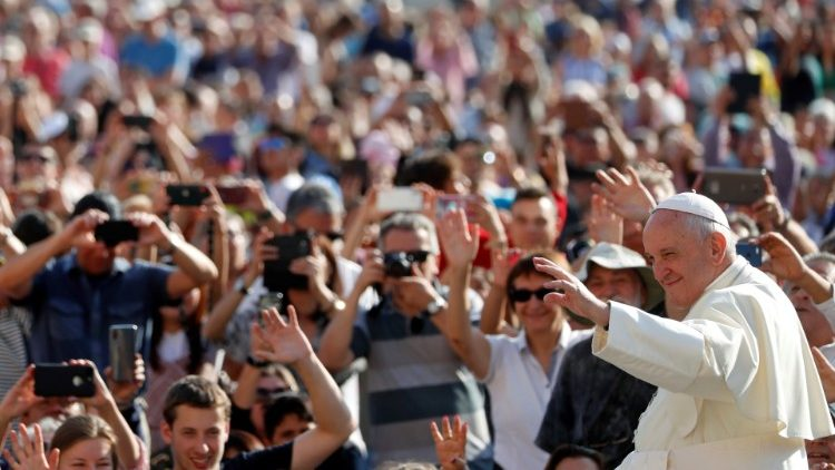 Pope Francis at his weekly general audience at the Vatican on 2 October, 2019.