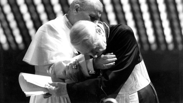 FILE PHOTO: Pope John Paul embraces Polish Cardinal Stefan Wyszynski at the Vatican