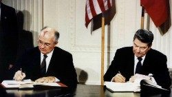 Ronald Reagan and Mikhail Gorbachev sign the Intermediate-Range Nuclear Forces (INF) treaty in 1987