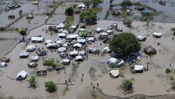 An aerial view of a flooded community in the Greater Upper Nile region of South Sudan