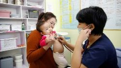 A child being treated for pneumonia in Ulaanbaatar, Mongolia.
