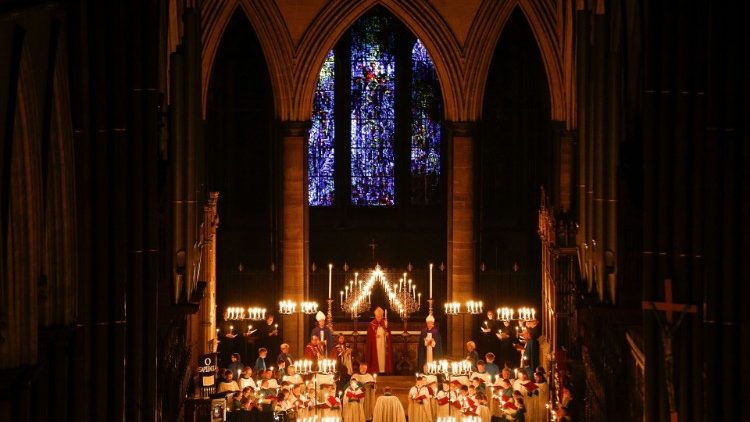 "Salisbury Cathedral celebrates the beginning of Advent with a candle-lit service and procession, ""From Darkness to Light"" in Salisbury"