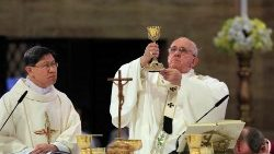 Cardinal Tagle concelebrates Mass with Pope Francis in Manila on 16 January 2015