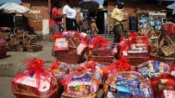 Christmas hampers for sale at the Wuse market in Abuja