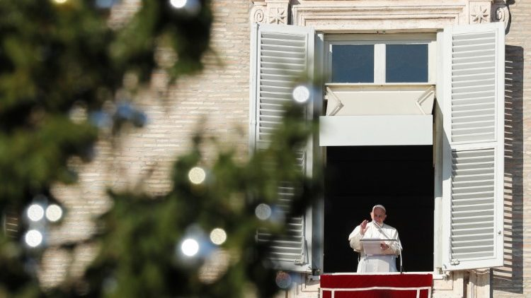 Pope Francis leads the Angelus prayer in St Peter's Square