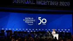 European Commission President Ursula von der Leyen addressing the World Economic Forum in Davos.