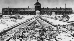 Archive photo showing Auschwitz- Birkenau's main guard house known as 'the gate of death'