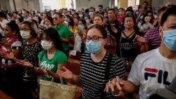 Filipino Catholics at a Church service in Metro Manila in early February, 2020.