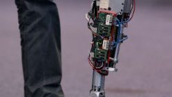A prosthetic leg equipped with artificial intelligence at the AI Xperience Center in Brussels