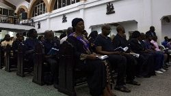 People attend Ash Wednesday Mass inside the Church of the Assumption in Ikoyi district, Nigeria