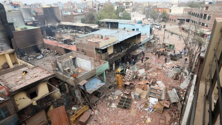 An area of New Delhi, India, after the riots.