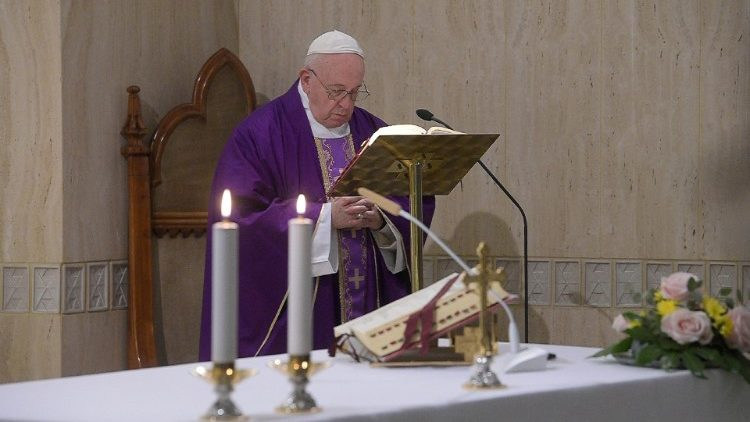 Pope Francis during his daily Mass at the Casa Santa Marta