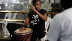 Percussionist Kavisa Mutua, founder of an all female percussionist group in Nairobi
