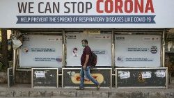 A bus stop displaying preventive measures against the coronavirus in Mumbai, India.