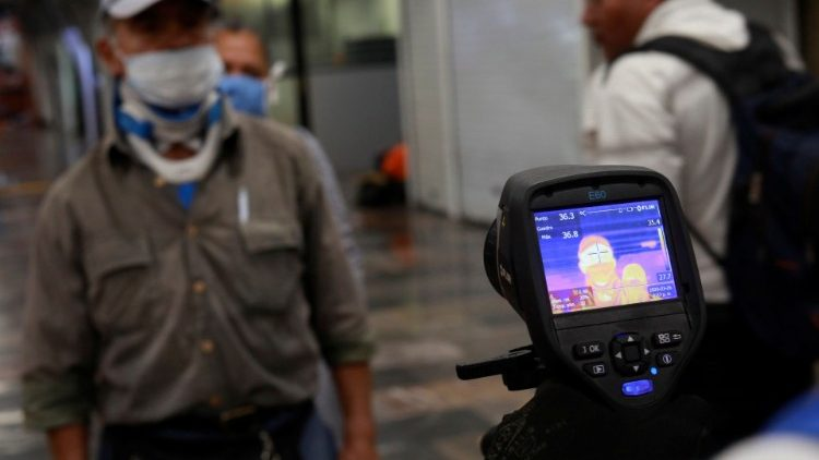 A thermal scanner screens for coronavirus in Mexico