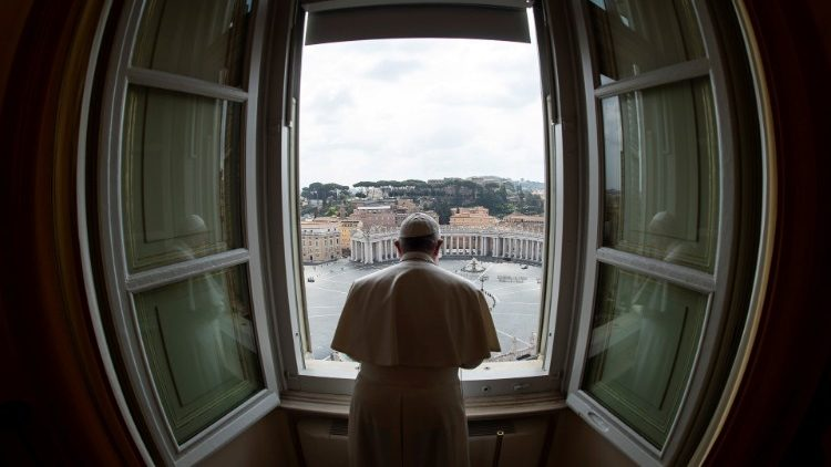 Pope Francis delivers the weekly Angelus prayer as it is streamed via video over the internet from inside the Vatican