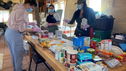 Relief workers prepare supplies to aid Navajo families amid the coronavirus pandemic