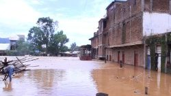 General view showing a flooded neighbourhood in Uvira, south Kivu