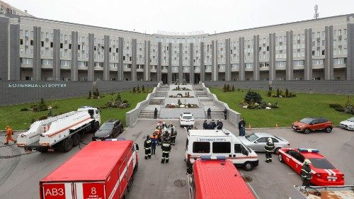 Emergency specialists work at the fire-hit hospital in Saint Petersburg