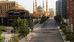 A view of an empty road, as Lebanon's government ordered most of the country to shut down again for four days, to ward off a coronavirus disease (COVID-19) resurgence after easing some restrictions, in downtown Beirut