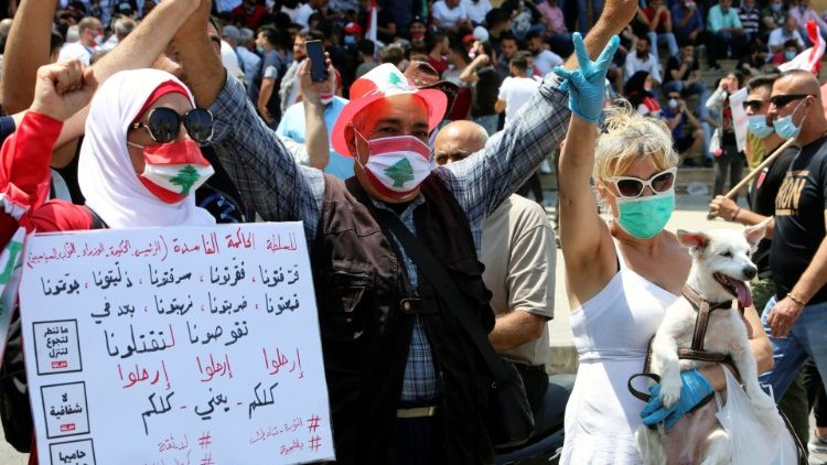An anti-government protest in Lebanon amid worsening economic crisis.