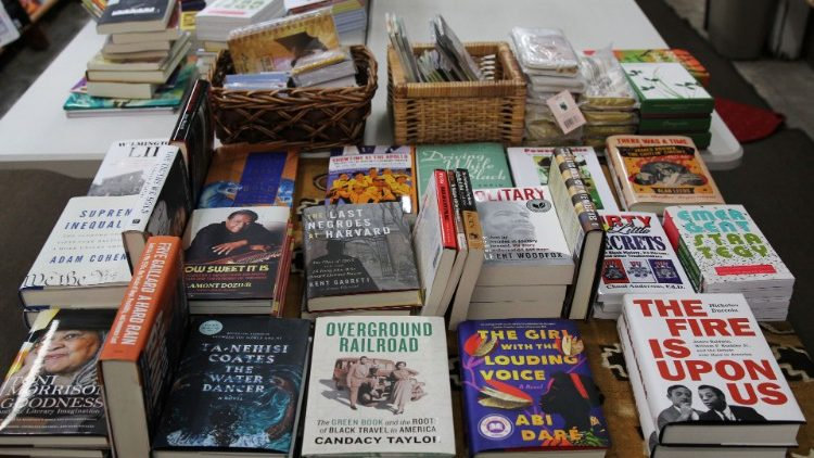 Books are seen on a table in independent bookstore Marcus Books in Oakland, California