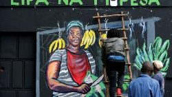 FILE PHOTO: An artist works on a mural advocating for retail M-Pesa mobile phone cashless payments as a measure against the spread of the coronavirus disease (COVID-19) in Nairobi