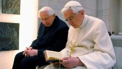 Pope Benedict XVI prays with his brother Msgr Georg Ratzinger in his private chapel at the Vatican (file photo)