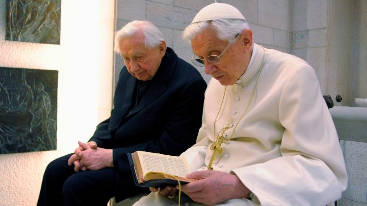 Pope Benedict XVI prays with his brother Rev Georg Ratzinger in his private chapel at the Vatican (file photo)