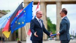 German Foreign Minister Heiko Maas (R) takes over the rotating EU presidency from Croatia