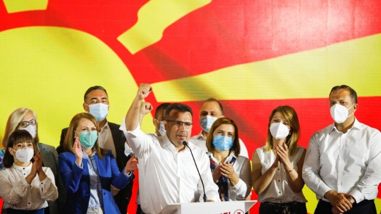 Former PM  and leader of North Macedonia's ruling SDSM Party, Zoran Zaev, celebrates his election victory