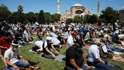 Muslims pray at Hagia Sophia in Istanbul