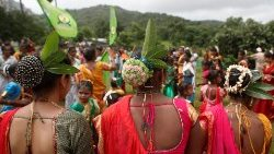 Adivasi tribals are see during a celebration on the occasion of International Day of the World's Indigenous People, in a forest in Mumbai