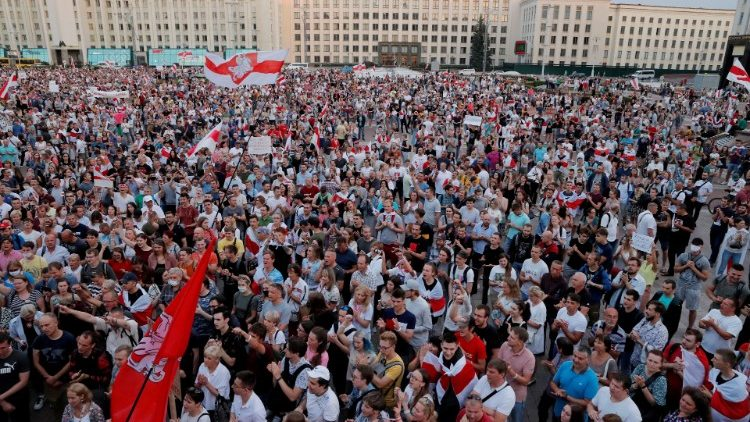 FILE PHOTO: People protest against presidential election results in Minsk