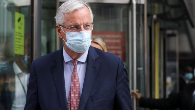EU chief negotiator Michael Barnier is seen leaving the EU-Brexit talks in central London